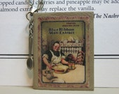 Leather Book Necklace - Blue Ribbon Malt Extract Vintage Cookbook Cover