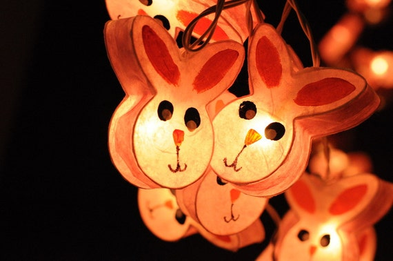 Zoo String Lights : 20xhandmade Bunny rabbit zoo animal plant paper by cottonlight