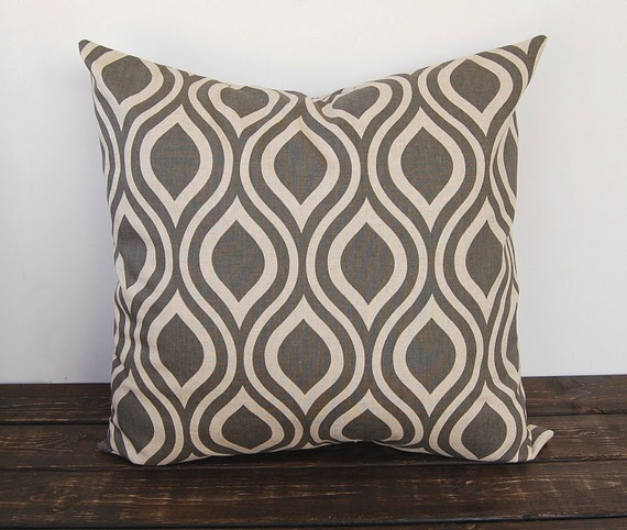items similar to gray pillow cover 20 x 20 one gray and beige cushion cover decorative throw. Black Bedroom Furniture Sets. Home Design Ideas