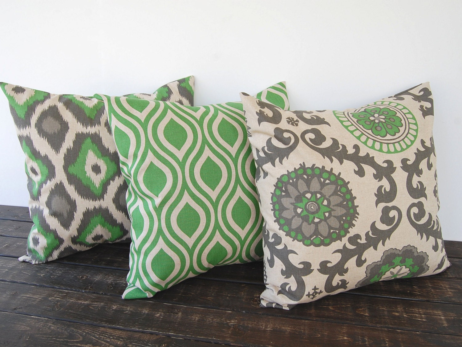 Throw Pillow Covers Set : Throw pillow covers 18 x 18 Set Of Three green by ThePillowPeople