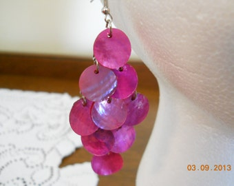 Pink Shell Disc Dangle Earrings Light Weight