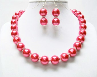 Raspberry Glass Pearl Choker Necklace and Earrings Set