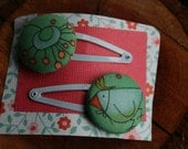 Hairclips with funky nature print