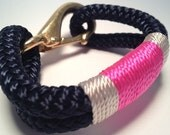 Navy Nautical Rope Bracelet with Off-White & Pink Stripe with Bronze clasp