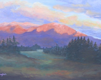 """SALE! Original landscape oil painting """"The Red Mountain"""", 18 x 24 oil on canvas"""