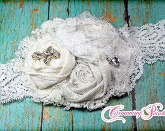 White Headband, Baby Dedication, Baptism, Baby Girl Hair Accessories, Lace Hair Piece, Fabric Flowers, Baby Girl Hair Bow, Wedding Hair Clip