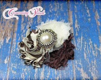 Brown, Ivory, Cream Shabby Chiffon Headband, Hair Accessories, Baby Girl Hair Bows, Flower Hair Bow, Fabric Flower Brooch, Fabric Flowers