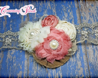Coral, Tan, Cream Fabric Flower Headband, Ivory, Salmon, Peach, Brown Hair Clip, Flower Brooch, Hair Accessories, Hair Piece
