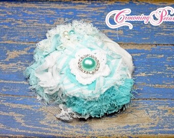 Turquoise, White Hair Clip, Hair Bow, Headband, Aqua Hair Accessories, Baby Hair Bow, Shabby Chiffon Flower Hair Piece, Fabric Flower Brooch
