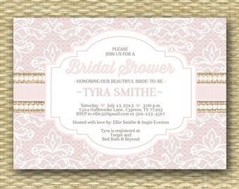 Lace and Burlap Bridal Shower Invitation Country Style Bridal Shower Shabby Chic Bridal Tea Lace Pearls Rustic Burlap Lace, ANY EVENT