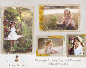 Digital Frames, psd templates, png files, 300 dpi, Vintage Spring