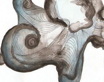"Octopus Painting - Waterbaby  - Fine Art Giclee Print of 10""x8"" Blue and Grey Watercolor Painting"