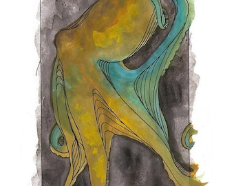 """Octopus Painting - Tentative Octopus  - Fine Art Giclee Print of 8""""x10"""" Colorful Gouache Painting"""