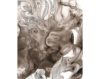 """Octopus Painting - Alternate Universe Octopus  - Fine Art 8"""" x 10"""" Giclee Print 8/50 of Black and White Painting on Yupo Synthetic Paper"""