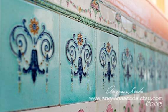 Blue ceramic tile, Art print, Asian motifs, decorative, chinatown, Photo Singapore, Oriental ceramics,  8x12, home decor,  holiday gift