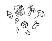 temporary tattoo (10 pcs a set) original illustrations printed : Summer Vacation