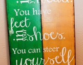 "Dr. Seuss Wooden Sign ""You can steer yourself..."" 12x24 ready to hang, Nursery or playroom"