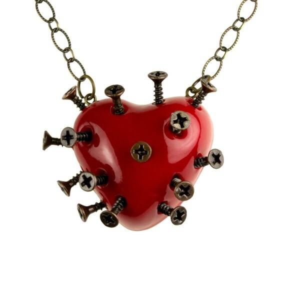 Red Steampunk Broken Heart Necklace With Screws (goth, jewellery, punk, emo, alternative, industrial, indie, Rockabilly, Lolita, Cyber)