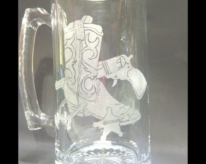 Western Collage Engraved Large Glass Mug