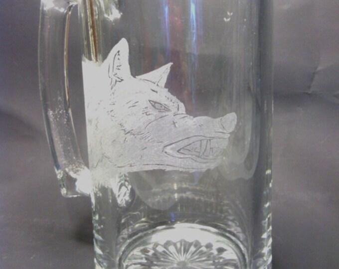 Wolf Head engraved on a 20 oz Beer Mug
