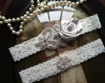 SALE-GARTER- Wedding Garter - Ivory Lace Garter Set - Rhinestone Garter - Applique Garter - Vintage - Bridal Garter - Vintage Garter