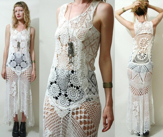 White Cotton Hippie Wedding Dresses Crochet Dress VINTAGE Full