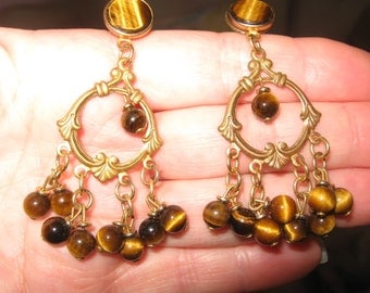Tiger Eye Dangle Pierced Earring Pair with Gold Colored Metal-Vintage, RosesAndButterflies, High Fashion Dangle Earrings, Vintage Earrings