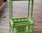 Vintage Wooden Table Magazine Rack Green Recycle Upcycle Littlestsister