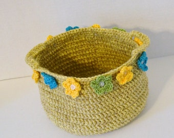 Crochet Storage Basket Yellow with Flowers and Buttons Cottage Chic Handmade Littlestsister