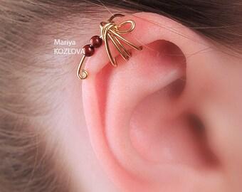 Piercing Imitation Helix Ear Wrap Red Wine Pearls Dragonfly/cartilage earcuff/ohrklemme ohr clip manschette/ear jacket/faux fake piercing