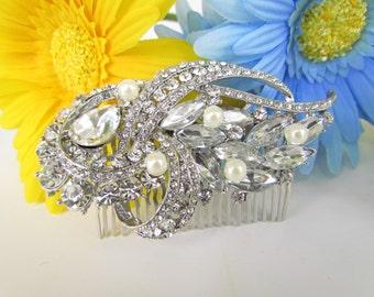 crystal hair comb, pearl bridal hair comb, bridal hair accessories,rhinestone bridal comb,crystal wedding hair comb,wedding hair accessories