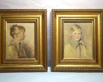 Vintage Set of Boy & Girl Framed Pastel Prints  Gold Frames Wall Art - Angelic Looking Children - WA14