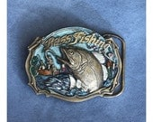 RESERVED for Sandra - Vintage 1987 Bass Fishing Belt Buckle