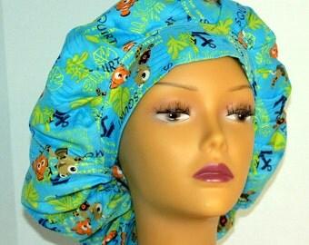 Bouffant Surgical Scrub Hat - Finding Nemo Bouffant Scrub Hat - Ponytail Scrub hat - Custom Scrub Hat - Personalized Scrub hat