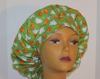 Bouffant Scrub Hat with ties - Halloween Scrub Hat - Pumpkin and ghosts Bouffant scrub hat - Ponytail Scrub hat