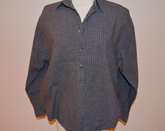 Yves Saint Laurent Shirt, Size Medium, Men's Pullover Shirt, YSL, Collared Shirt, Men's Vintage Shirt, Blue, Gray, Hippie, Hipster
