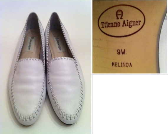 Etienne Aigner White Vintage Womens Leather Flats Size 9W