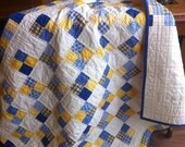 Blue and Yellow Four Patch Baby Quilt