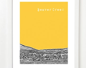 Beaver Creek Colorado Art Poster  - Beaver Creek City Skyline Print - Colorado Gifts
