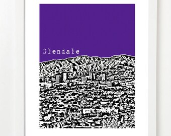 Glendale, California Poster - Glendale California Skyline City Art Print - Glendale Skyline