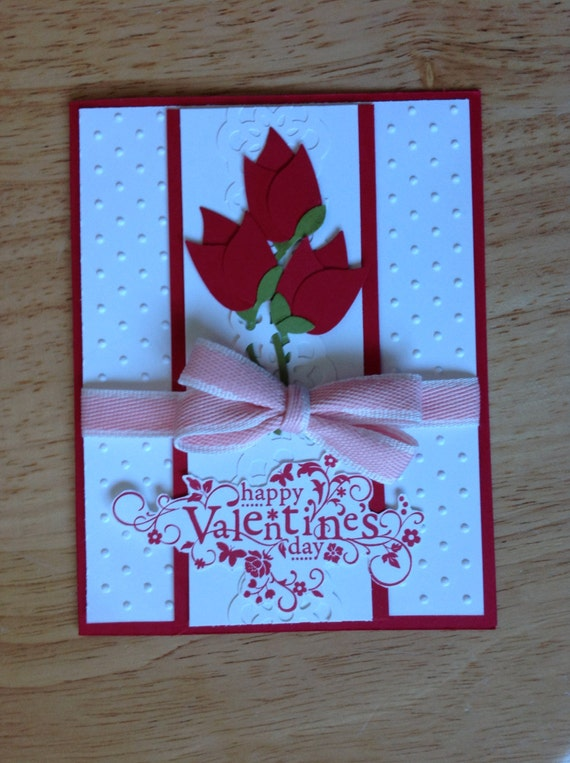 items similar to stampin up valentine's day card  roses