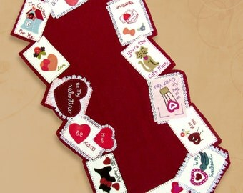 Wool Applique' PATTERN Be My Valentine Table Runner or Card Ornaments Pattern