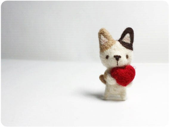 Pudding Cat - needle felted wool brooch, crystal bead