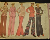 Misses' Top, Blouse, and Pants Size 20 Bust 22 Vintage 1970s Sewing Pattern Simplicity 6029