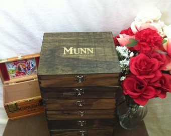 Rustic Groomsmen Gift - Set of 7 Wooden Cigar Boxes - Laser Engraved Name - Rustic - Stained and Personalized Wooden Box