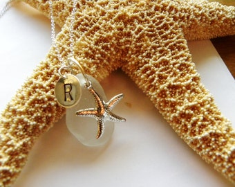 Personalized sea glass necklace - starfish necklace - bridal jewelry, choice of color, charm and custom initial. Wedding sets available