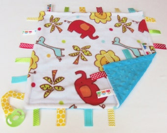 Baby Animals - Elephants - Giraffes - Sensory Binky Blanket - Fleece/Minky - Measures 17 x 17 - Ready to Ship