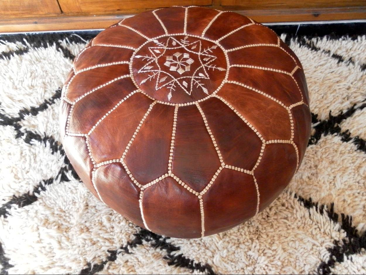 Leather Floor Pillows Cushions : MOROCCAN POUF :hand stitched / embroidered Natural brown tan