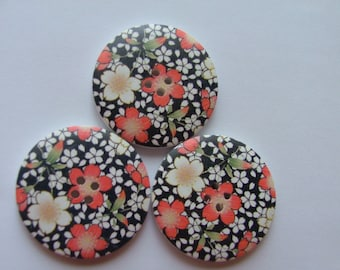 Multi flower Painted Wooden Buttons 4cm