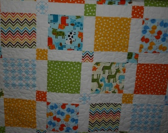Boys on the Farm Baby Quilt